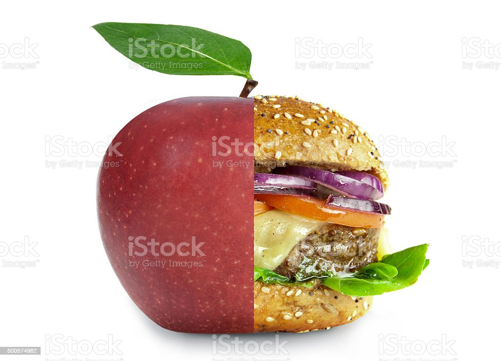 Healthy and unhealthy food lifestyle choices concept stock photo