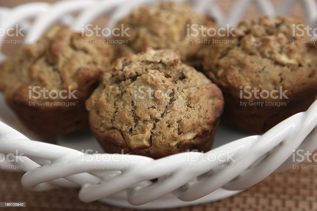 Healthy Apple, Apricot, and Walnut Muffins in Basket stock photo