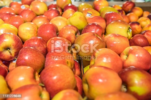 Group of beautiful apples at the local supermarket.