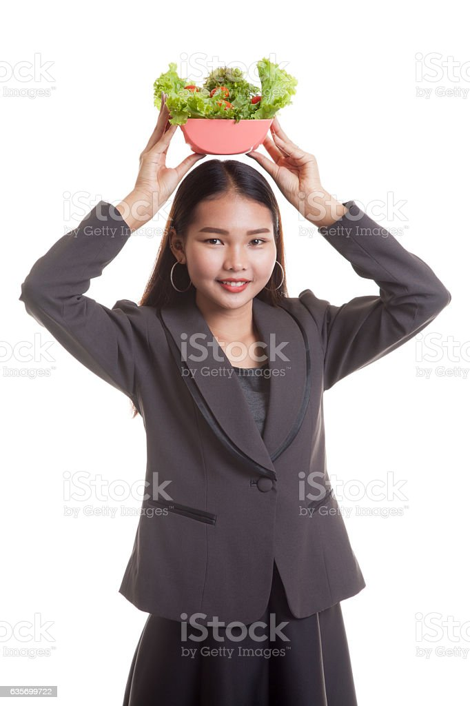 Healthy Asian business woman with salad. royalty-free stock photo