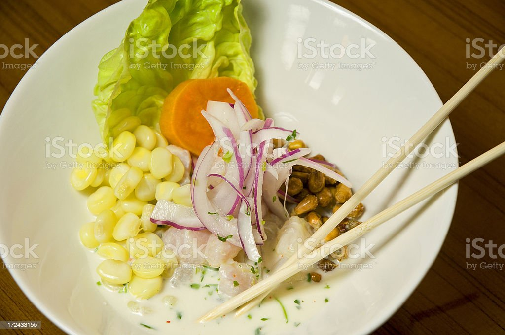 Healthy Asian Sushi Dinner With Chopstix stock photo