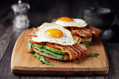 Home made freshness bacon,fried egg with avocado ,tomato and rocket leaves on fried soda bread