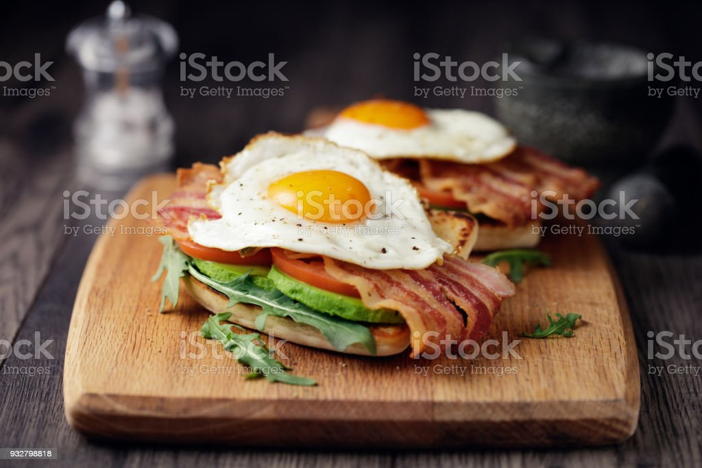 Healthy bacon fried egg brunch stock photo