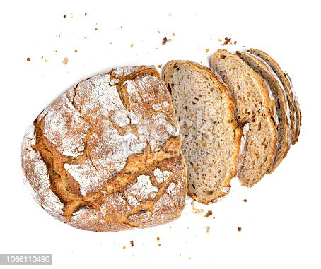 Fresh rye bread or whole grain bread. Isolated object on white background. Healthy baked bread, whole bread on white background.