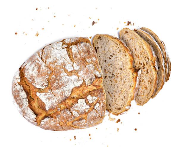 healthy baked bread, whole bread on white - pangrattato preparazione degli alimenti foto e immagini stock