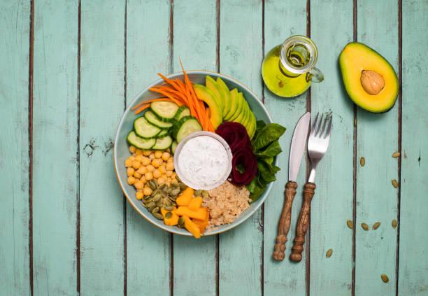 Gesundes, ausgewogenes vegetarisches Lebensmittelkonzept. Buddha-Kegel-Salat. Avocado, Spinat, Kichererbsen, Gurke, Currot-Rübenwurzel-Gemüse-Appetitplatte mit Dressing und Öl. – Foto
