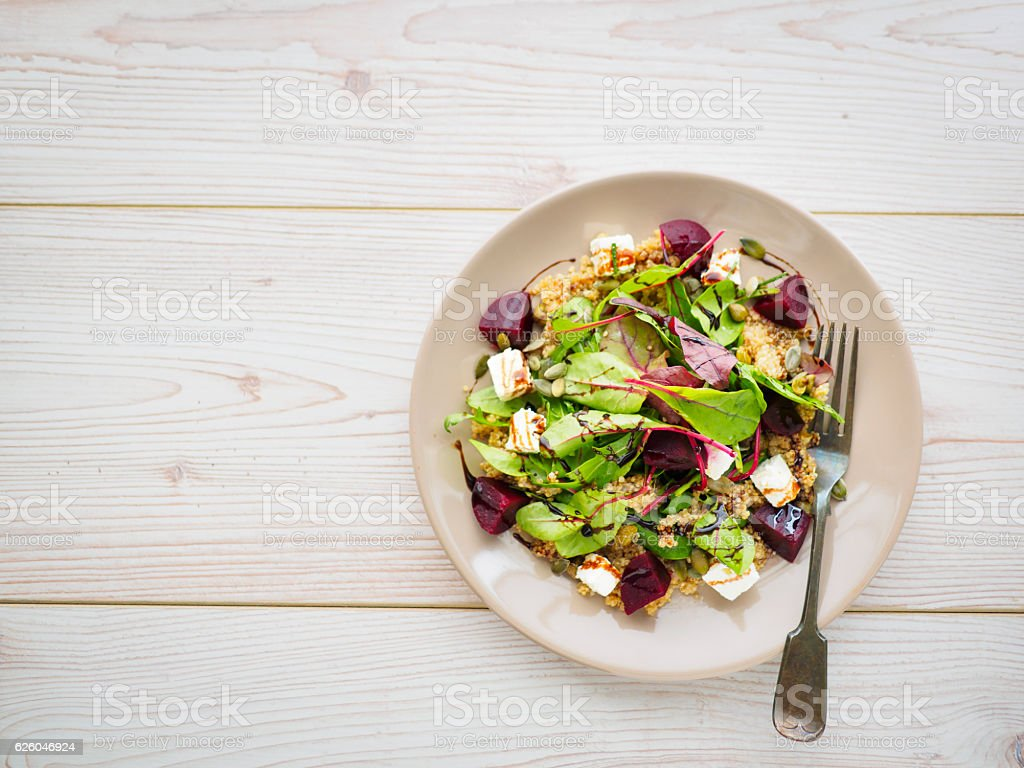 Healthy beetroot and quinoa salad stock photo