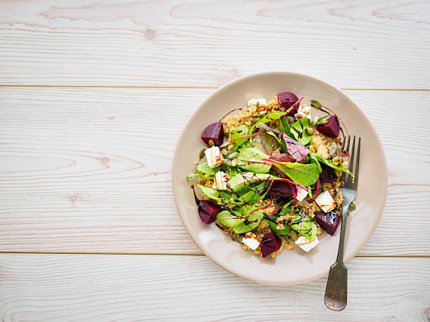 Healthy beetroot and quinoa salad stock photo