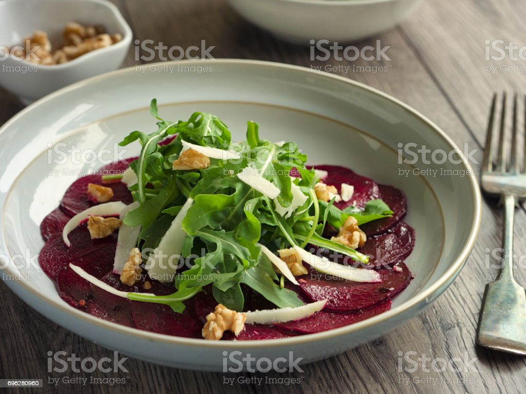 Healthy beetroot and rocket salad stock photo