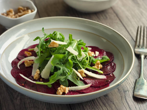 Healthy beetroot and rocket salad stock photo