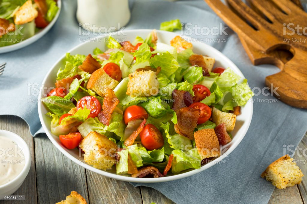 Healthy BLT Salad with Croutons stock photo
