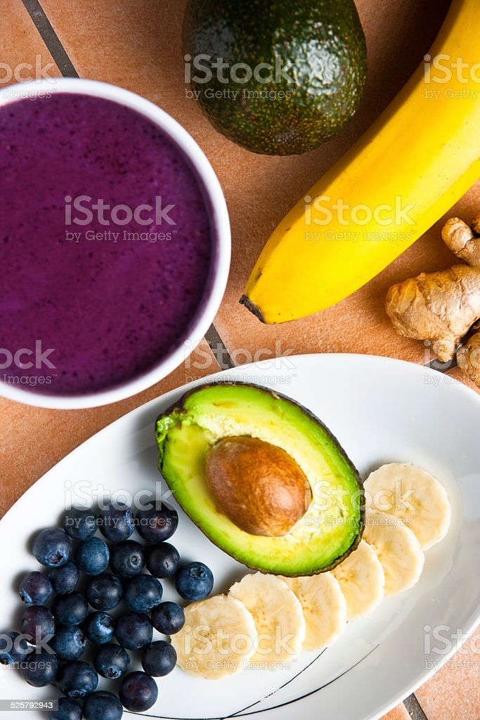 Healthy blueberries smoothie stock photo