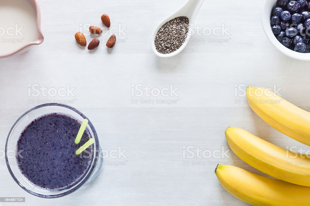 Healthy blueberry and banana smoothie stock photo