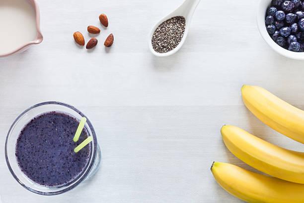 Gesunde Blaubeer-Bananen-smoothie – Foto