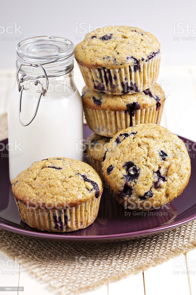 Healthy blueberry banana muffins with milk royalty-free stock photo