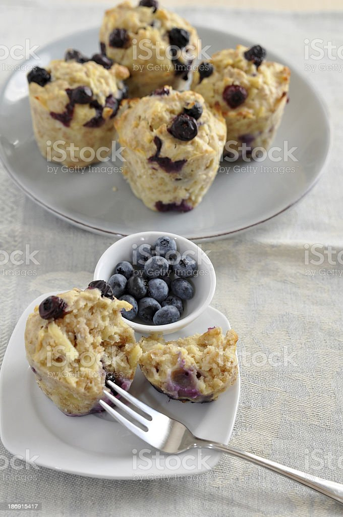 Healthy Blueberry Muffins with oatmeal royalty-free stock photo