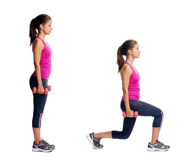 healthy body woman set - lunge stock photos and pictures