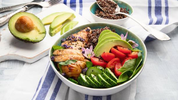 Bol en bonne santé avec du poulet rôti et quinoa - Photo