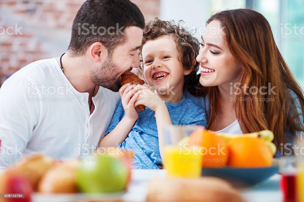 Healthy breakfast and fun stock photo