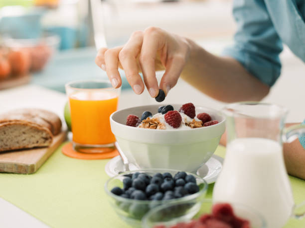 healthy breakfast at home - health and beauty stock photos and pictures