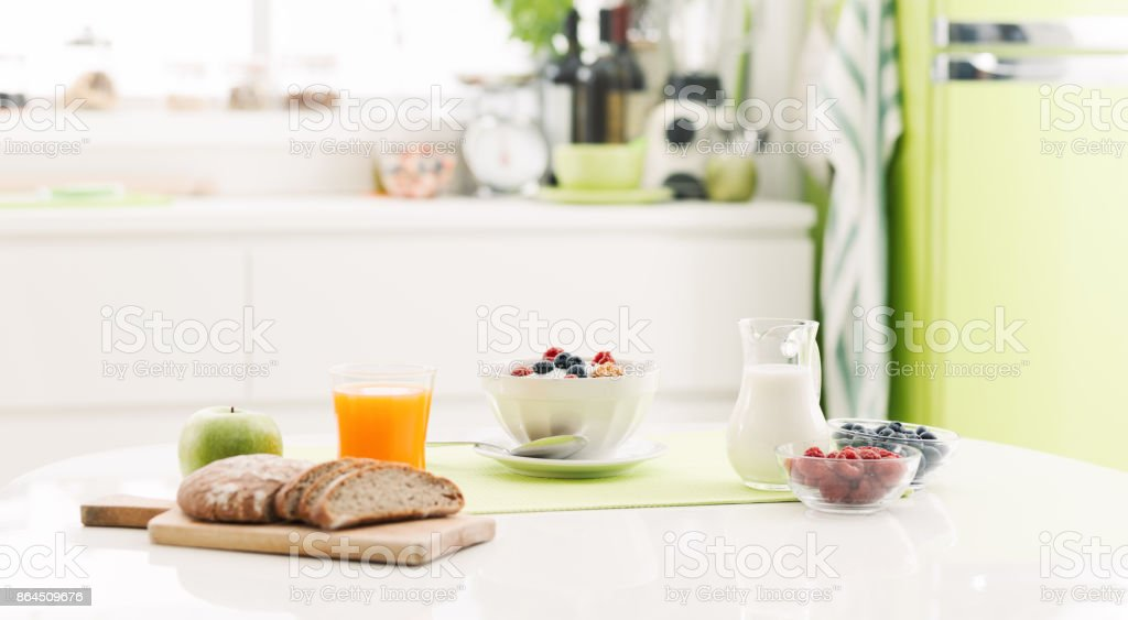 Healthy breakfast at home stock photo
