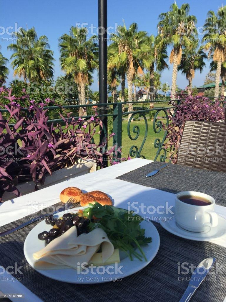 Sağlıklı kahvaltı otelde stok fotoğrafı