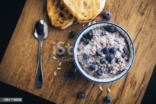 Healthy Breakfast, Blueberry Overnight Oatmeal