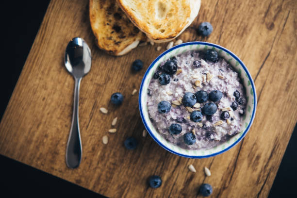 Healthy Breakfast, Blueberry Overnight Oatmeal Healthy Breakfast, Blueberry Overnight Oatmeal oatmeal stock pictures, royalty-free photos & images