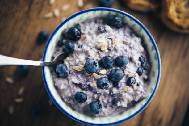 Healthy Breakfast, Blueberry Overnight Oatmeal stock photo