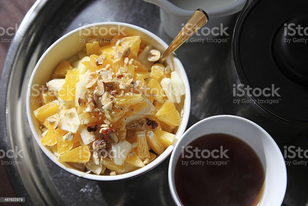 Healthy breakfast cereals, muesli with fresh fruits royalty-free stock photo