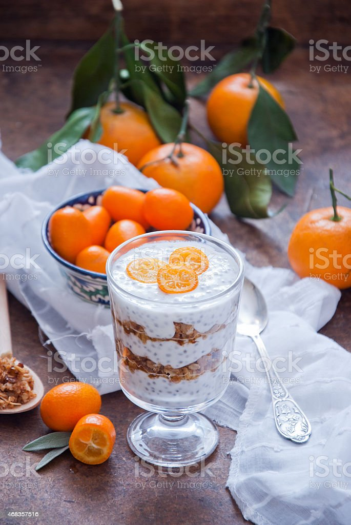 Healthy breakfast - Chia Seed Pudding royalty-free stock photo