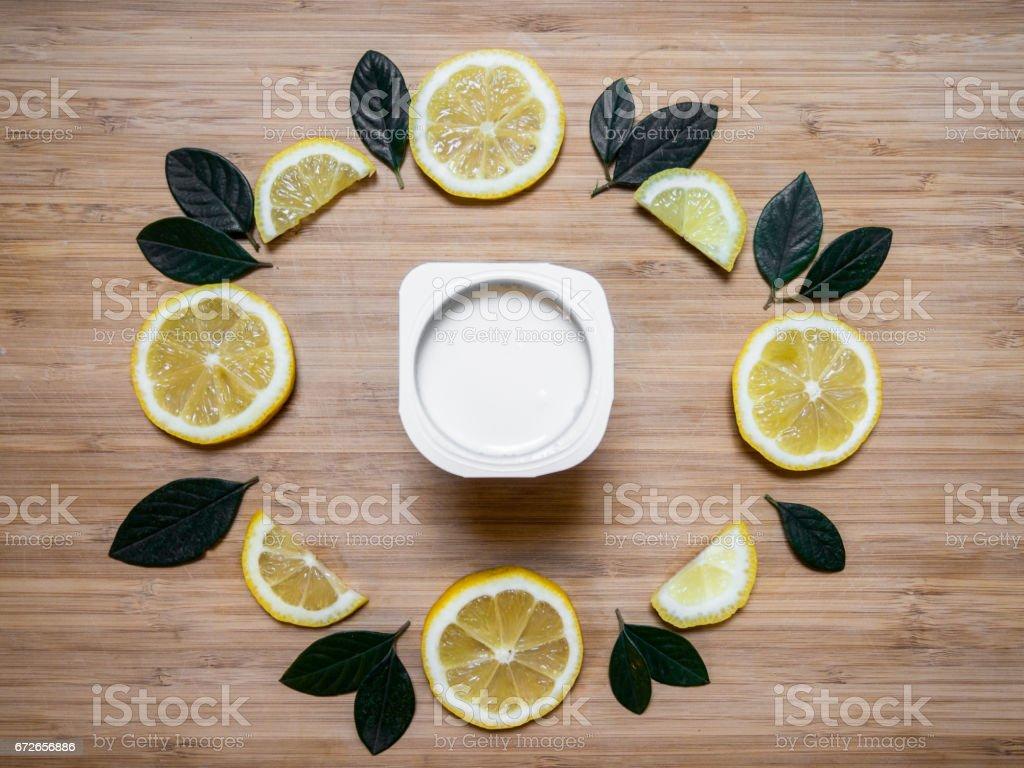 Healthy breakfast flat lay with yogurt and fresh fruit stock photo