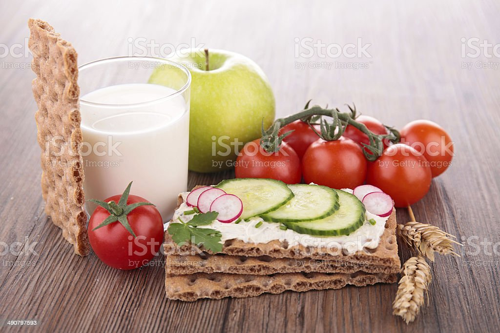 Healthy breakfast foods on wooden table stock photo