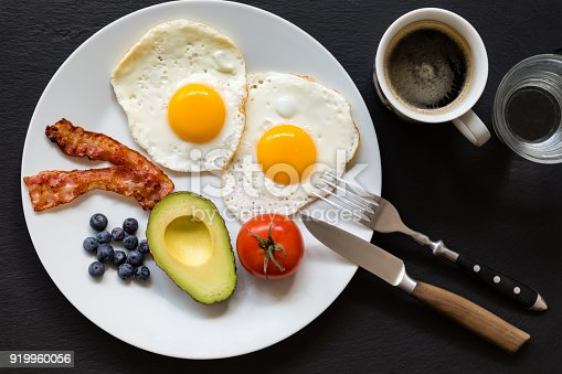 Healthy breakfast on plate consisting of fried eggs and bacon, half an avocado, a tomato and a handful of antioxidant rich blueberries. On the side is a cup of bulletproof coffee made with MCT oil (from coconut oil) and butter.