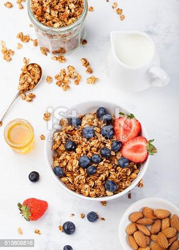 istock Healthy breakfast Fresh granola, muesli in bowl 513806816