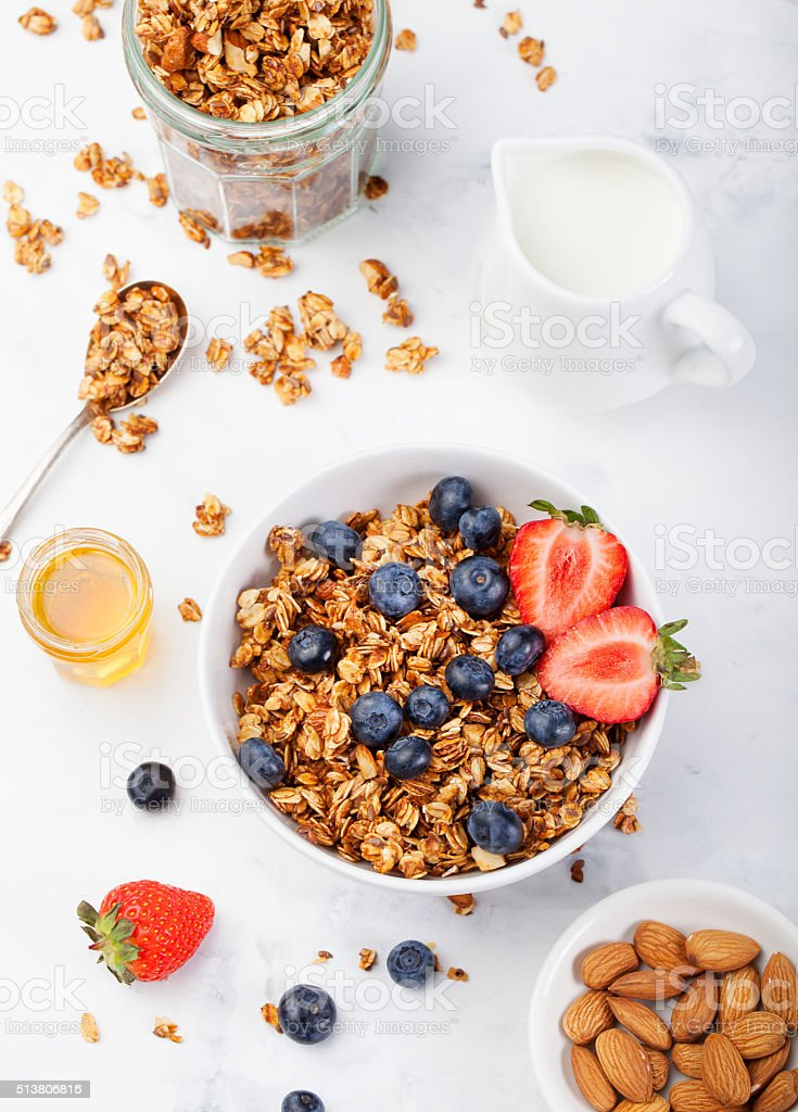 Healthy breakfast Fresh granola, muesli in bowl stock photo