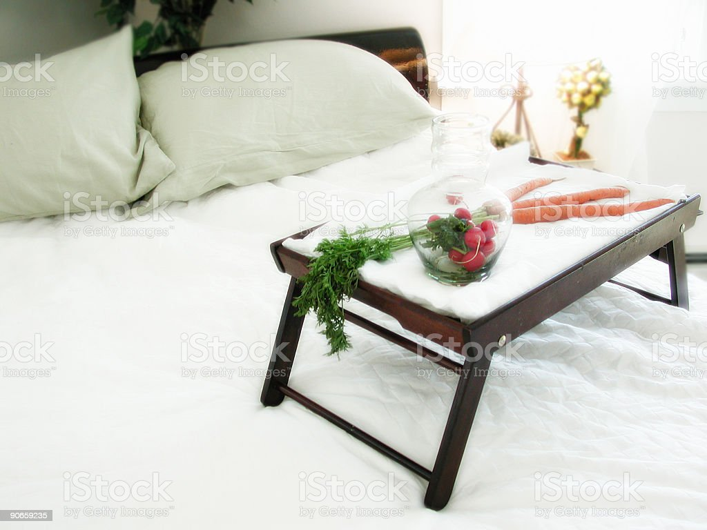 Healthy Breakfast in bed stock photo