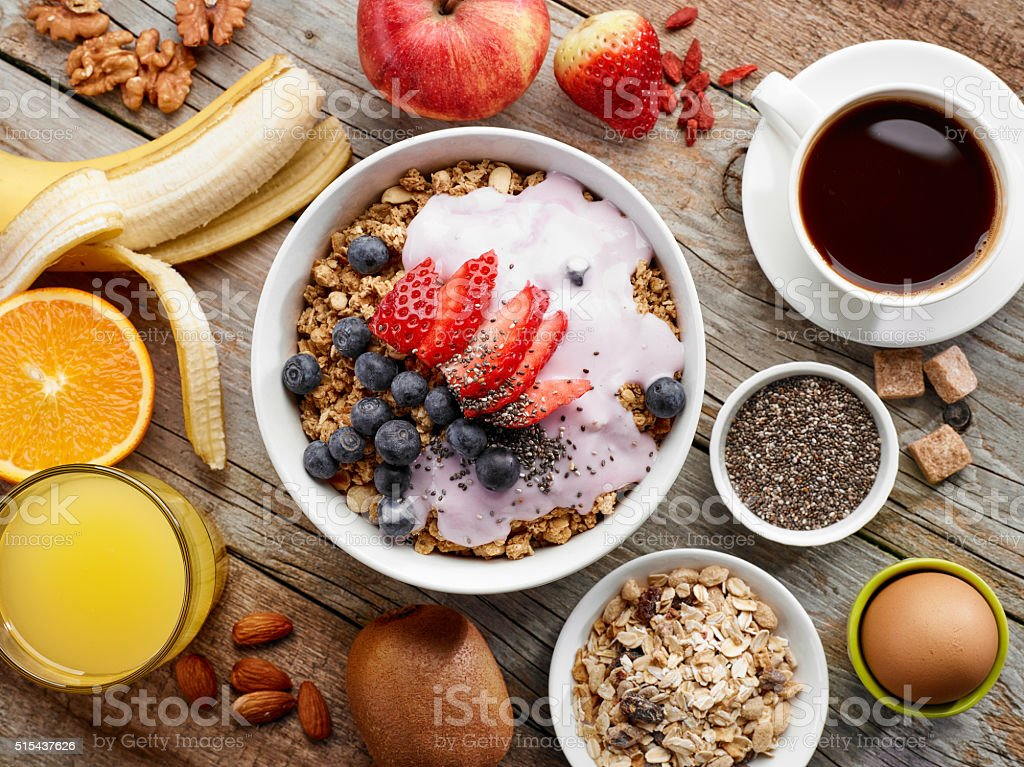 healthy breakfast ingredients bildbanksfoto