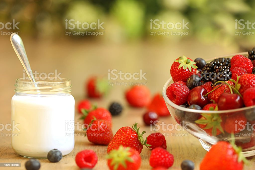 Healthy Breakfast Meal with Yogurt and Berry Fruit stock photo