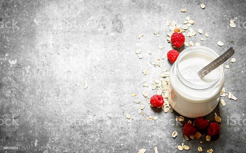 Healthy Breakfast . Milk cream with cereal and berries . Lizenzfreies stock-foto