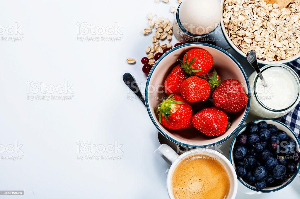 Healthy breakfast - muesli and berries stock photo