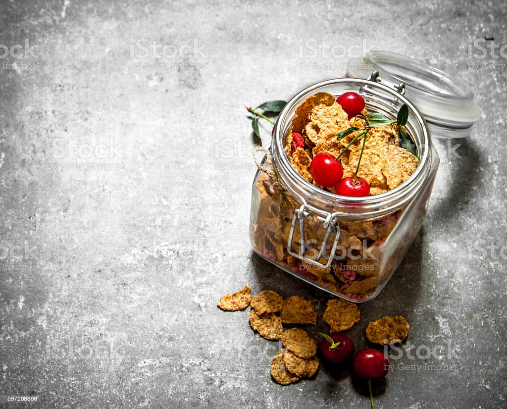 Healthy Breakfast. Muesli with cherries in a jar . Lizenzfreies stock-foto
