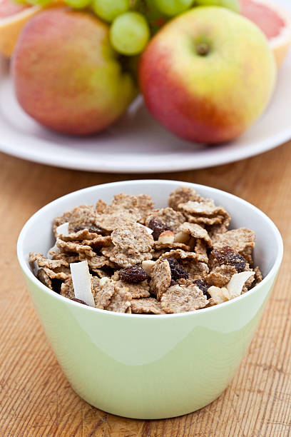 Healthy breakfast of bran flakes stock photo