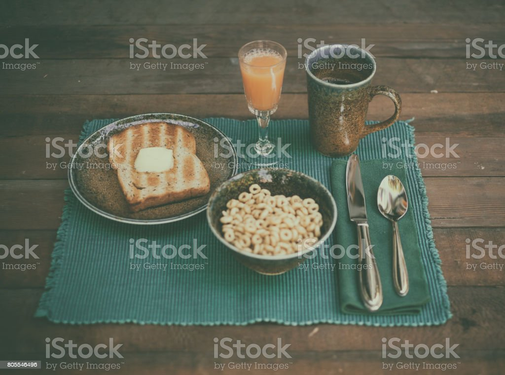 Healthy Breakfast on Rustic Table stock photo