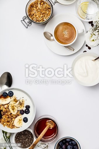 599887760istockphoto Healthy breakfast set on white background, top view, copy space 1154065236