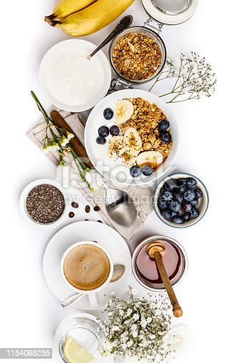 599887760istockphoto Healthy breakfast set on white background, top view, copy space 1154065255