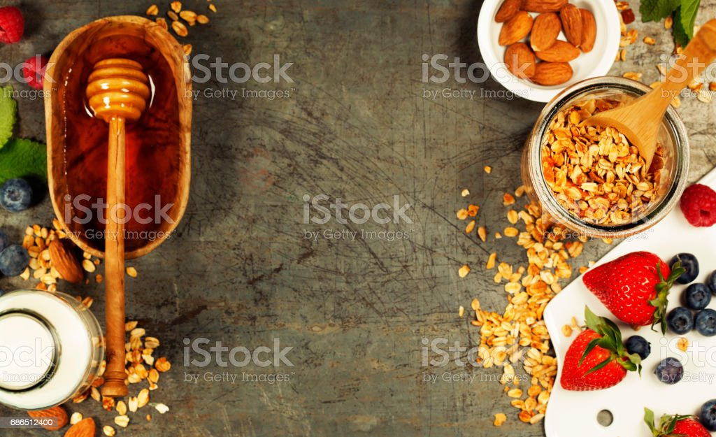 Healthy Breakfast set with granola, honey, almond milk and berries foto stock royalty-free