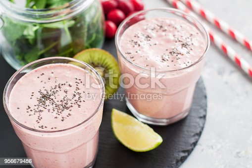 1081369140 istock photo Healthy breakfast smoothie drink 956679486