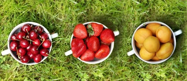 healthy breakfast - strawberries and sweet cherry apricots in bowl close up photo on green grass background with copy space - salud zdjęcia i obrazy z banku zdjęć