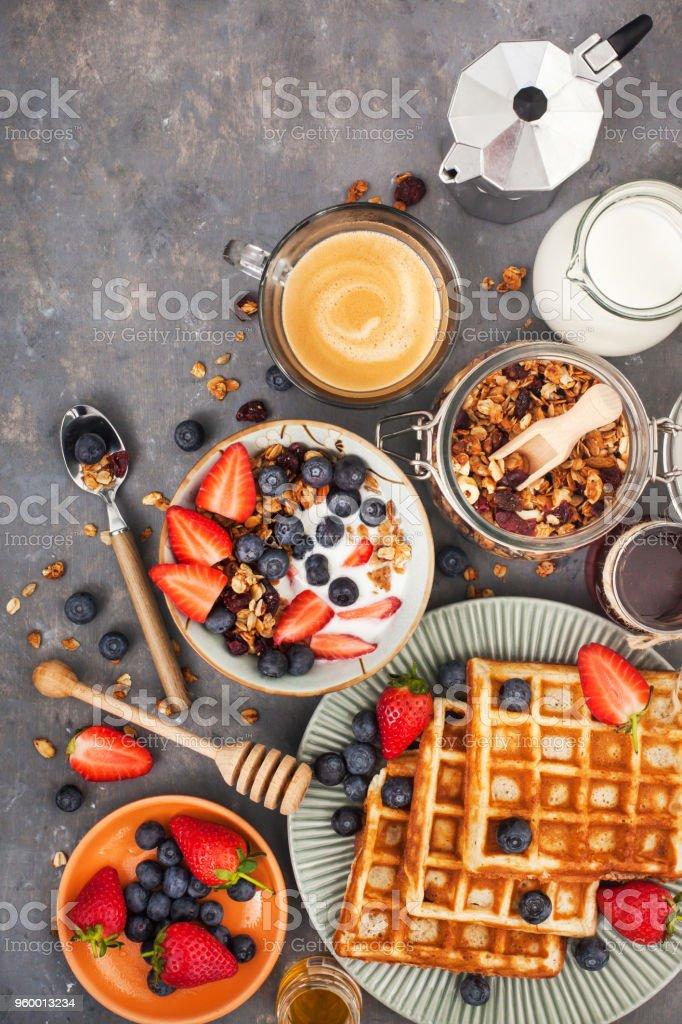 Healthy breakfast table stock photo